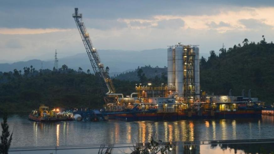 The KivuWatt Methane Gas plant stands afloat on Lake Kivu. (File)
