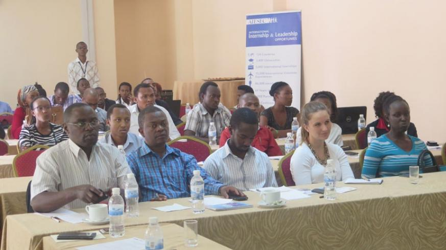 Some of the participants from universities and employment firms during a briefing in Kigali last week. (Solomon Asaba)