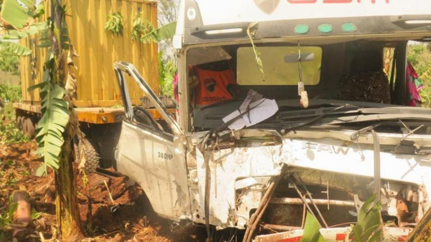 The Tanzania-registered cargo truck that smashed into an oncoming minibus at Akabuga ka Musha in Rwamagana District, on Monday, killing 18 people on the spot and injuring two others. Police blamed the accident on speeding. (File)