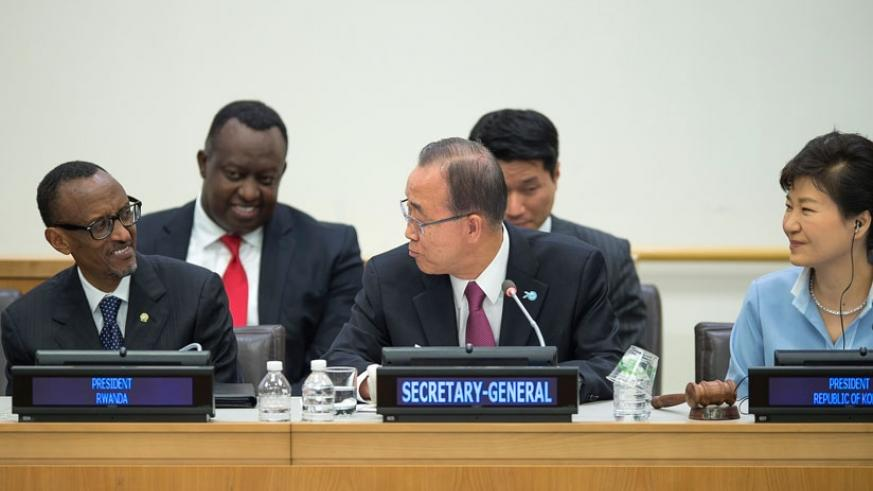 President Kagame, UN Secretary-General Ban Ki-moon and  President Park Geun-hye of South Korea during the United Nations Summit for the Adoption of the Post-2015 Development Agenda on Saturday. (Village Urugwiro)
