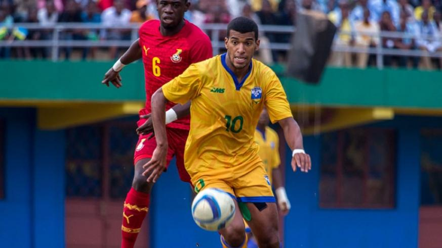Swiss-based striker Quentin Rushenguziminega is one of the foreign-based players, who will link up with their Amavubi teammates in Morocco.  (T. Kisambira)