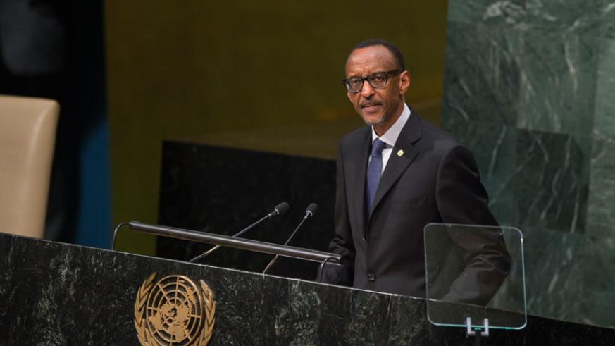 President Kagame addresses the seventieth United Nations General Assembly in New York, US, yesterday. (Village Urugwiro)