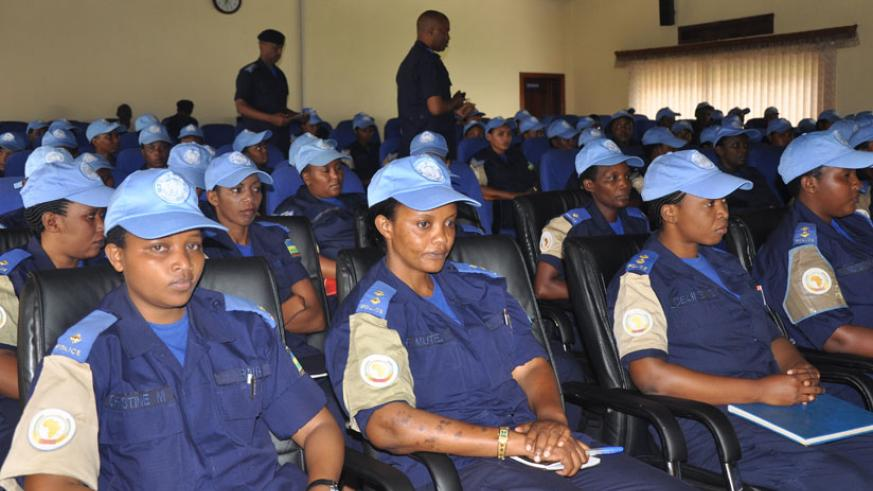 Female police officers during a debriefing upon their return from UN mission recently. (Courtesy)