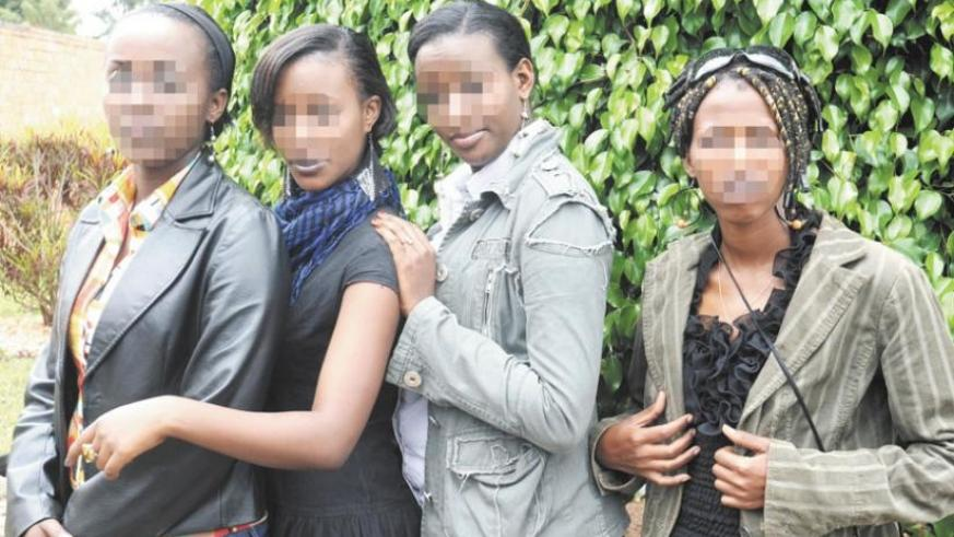 Teenage girls rescued from human traffickers paraded at Police Headquaters in Kacyiru in 2012. (File)