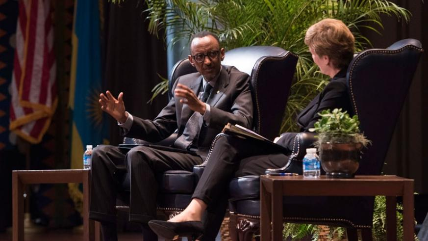 President Kagame speaks at the Wharton Business School, University of Pennsylvania yesterday. (Village Urugwiro)