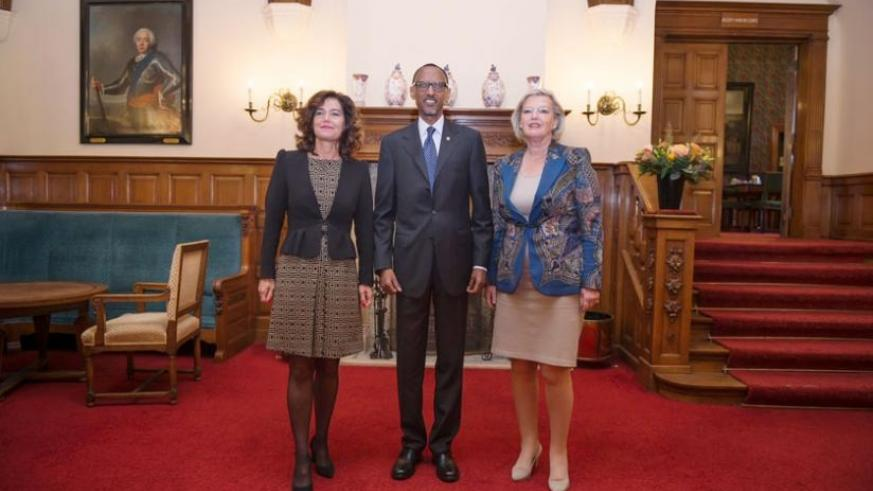 President Kagame with President of the Dutch Senate Ankie Broekers-Knol and Speaker of the House of Representatives Anouchka van Miltenburg in Amsterdam, Netherlands, yesterday. (Village Urugwiro)