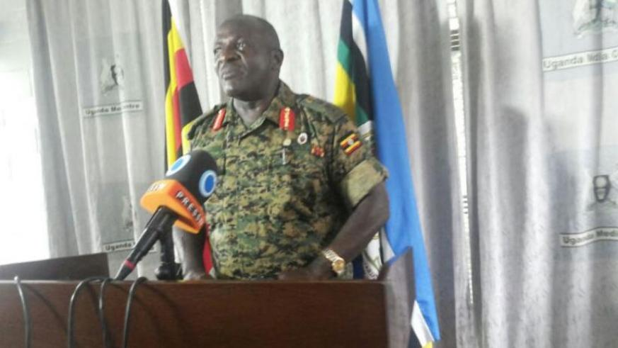 Gen Wamala announces the withdrawal of the UPDF from South Sudan at a news conference in Kampala yesterday. (Courtesy)