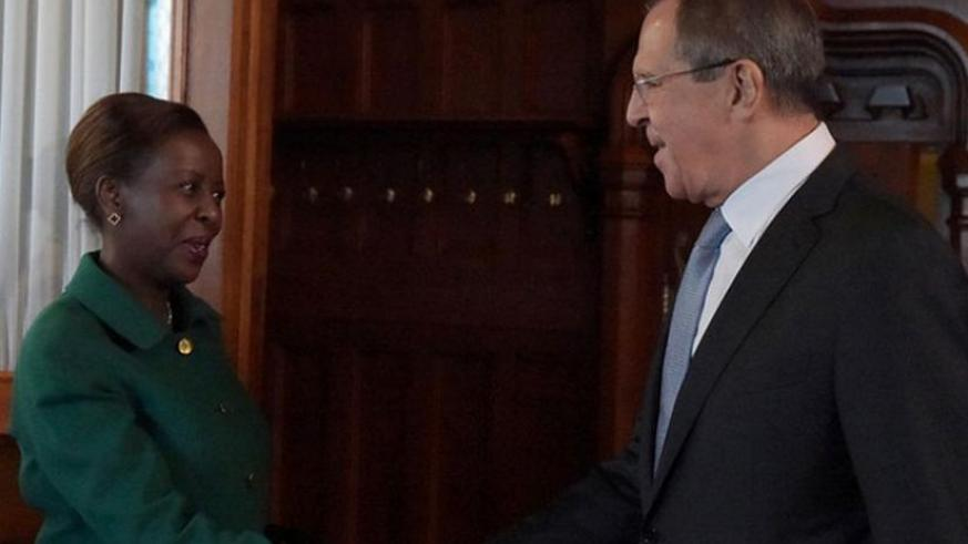 Mushikiwabo and Lavrov meet in Moscow yesterday. (Courtesy)