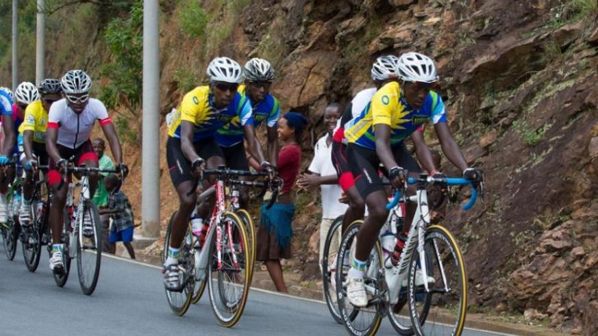 Team Rwanda riders lead the way during a past edition of Tour du Rwanda. The team is confident of getting a podium finish in the Chantal Biya race. (File)