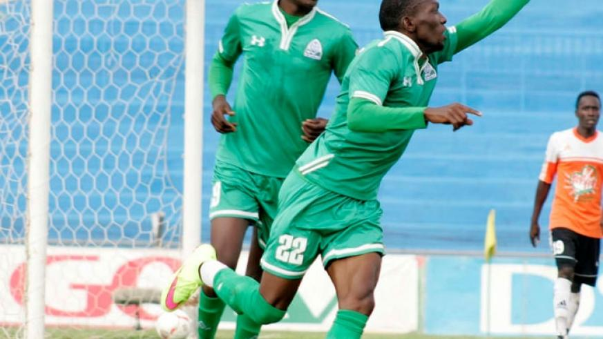 Kagere (R) netted four goals in the month of September, helping Gor Mahia wrap the 2015 league title. (Net photo)