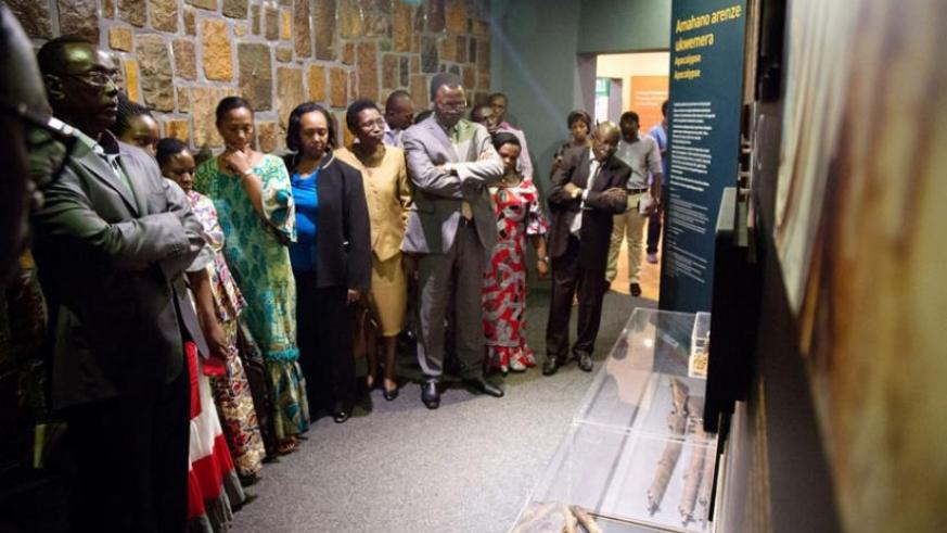 Senators during a visit of Kigali Genocide Memorial Centre look at some of the weapons that were used during the 1994 Genocide against the Tutsi. (File)