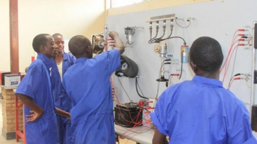 Electronics students make a demonstration during a past Technical and Vocational Education Training (TVET) expo. (File)