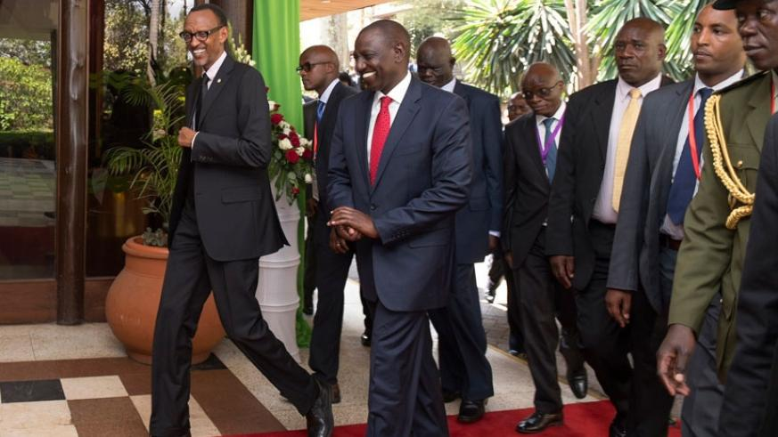 President Paul Kagame being received by Kenya's Deputy President William Ruto for the 11th Northern Corridor Integration Projects (NCIP) Summit in Nairobi yesterday. The Democratic Republic of Congo announced that it would be joining the Northern Corridor Integration Projects as a full member during the next Summit. (Village Urugwiro)