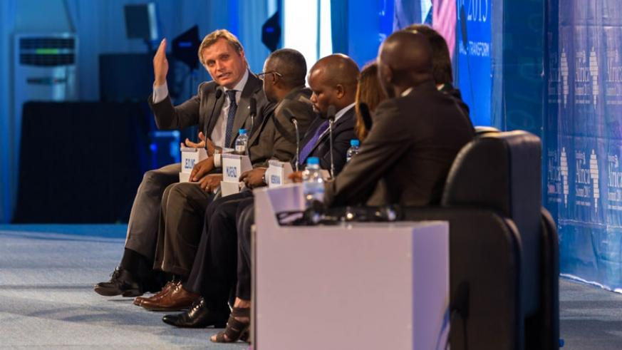 Fredrick Jejdling president and CEO of Ericsson Sub-Saharan Africa speaks during a panel discussion yesterday in Kigali. (T.Kisambira)
