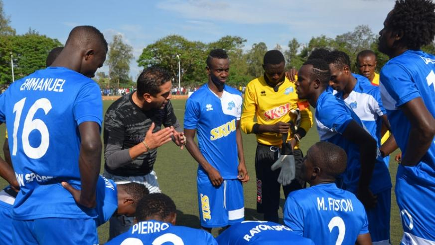 Rayon Sports coach David Donadei gives instructions to his players during a league game. The french man is keen to get a win against bitter rivals APR when the two sides clash on Sunday. (Sam Ngendahimana)