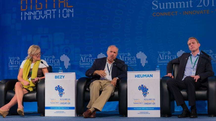 Bezy in a panel discussion with Tracey McNeil, the chief clinical officer of Babylon (L), and Heuman during a Transform Africa 2015 summit session in Kigali yesterday. (Timothy Kisambira)