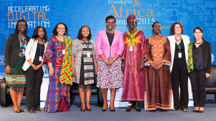 First Lady Jeannette Kagame with panelists from the 'Digital Inclusion for Women's Empowerment' session during Transform Africa 2015 in Kigali, yesterday. (Courtesy)