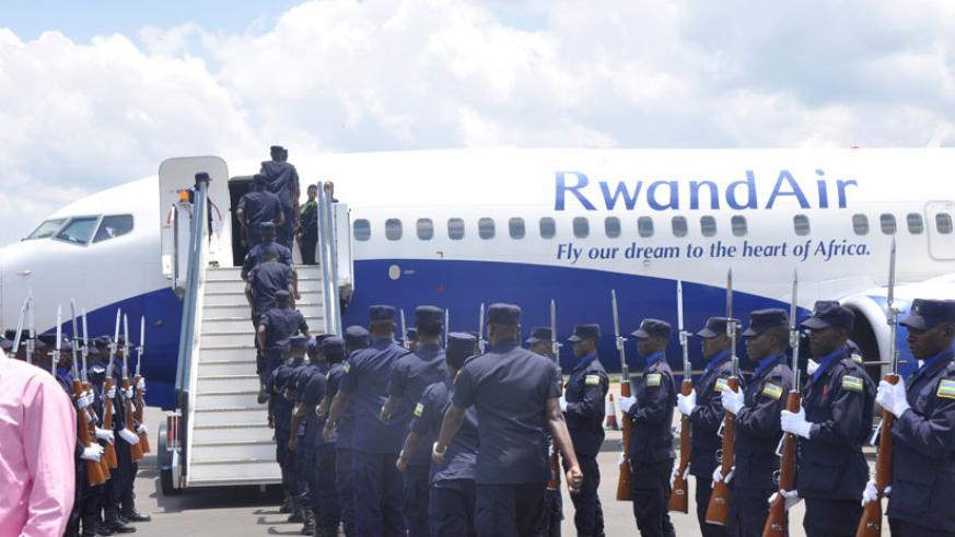 RNP contingent boarding a plane for a UN mission in CAR. (Courtesy)