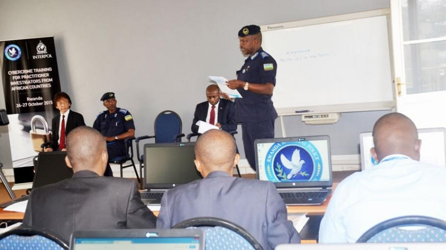 CP Cyprien Gatete speaking at the opening of the continental cybercrime training. (Courtesy)