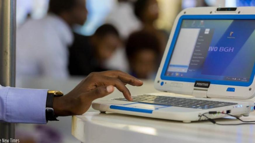 One of the computers made in Rwanda on display at the recently Transform Africa summit exhibition. (T . Kisambira)