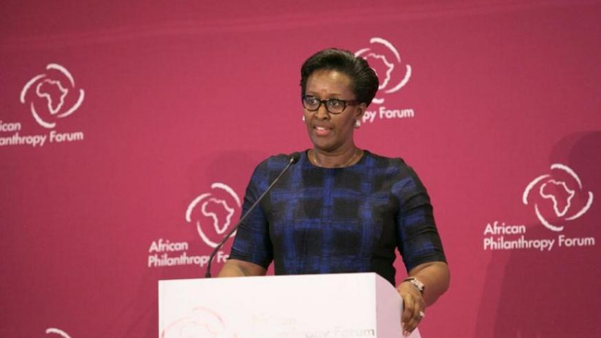 The First Lady, Jeannette Kagame, speaks at the Africa Philanthropist Forum that ended in Kigali yesterday. (Courtesy)