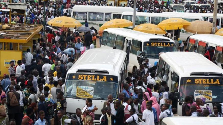 A busy Nyabugogo Taxi Park. Public transport fares will increase next week. (File)