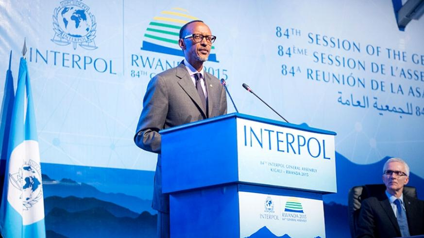 President Kagame addresses global law enforcement and other leaders at the opening of the 84th Interpol General Assembly in Kigali yesterday. (Courtesy)