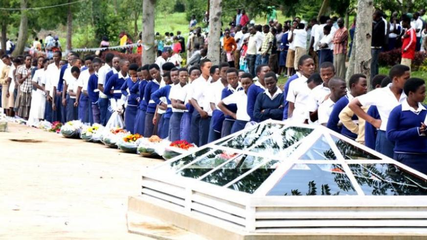 Students queue to enter Kinazi Genocide memorial site during the commemoration earlier this year. (File)