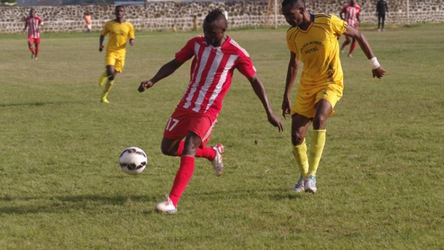 Peter Otema (R) in action against Mukura earlier in the season. He will be hoping to add to his tally this afternoon. (File)