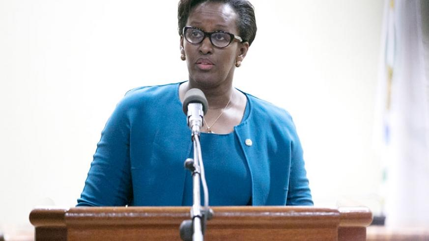 First Lady Jeannette Kagame gives her opening remarks at the 8th Annual Forum of the Unity Club at Parliamentary Buildings in Kimihurura yesterday. (Courtesy photos)