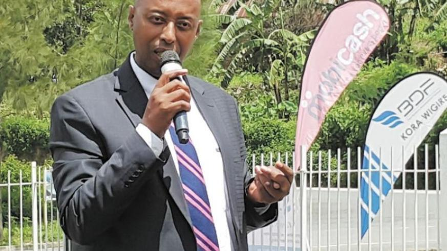 Nyagahene speaks after announcing the deal with BDF. (Shamim Nirere)