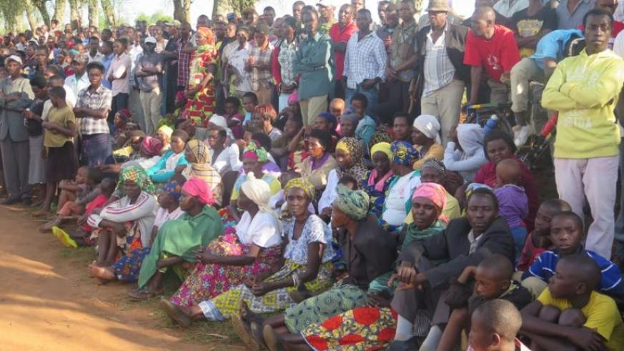 Residents of Runda and Rugalika Sectors attend the inaugration of the water facility on Tuesday. (Michel Nkurunziza)