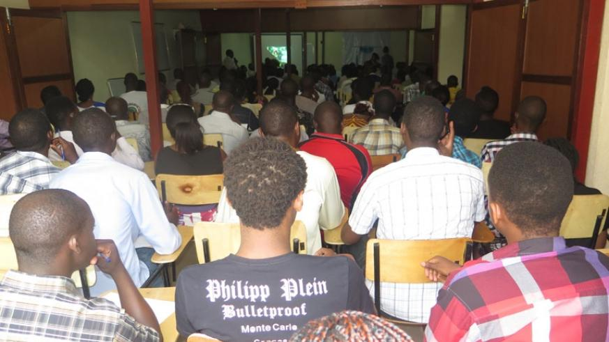 Students attend a public lecture. During the accreditation process, availability of facilities is taken into account. (Solomon Asaba)