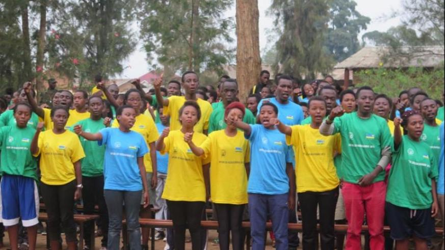 The civic education trainees during the closing ceremony in Kicukiro, on Tuesday. (F. Byumvuhore)