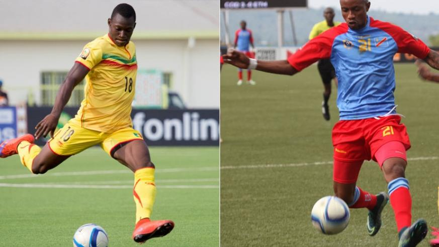 Mali midfielder Aliou Dieng (L) will have to be on top of his game playing in-front of his defence against DR Congo attack led by Jonathan Bolingi (R). (Timothy Kisambira)