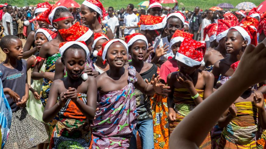 Young Burundian refugees at Mahama Refugee Camp celebrate the festive season with music, dance and drama last year. (File)
