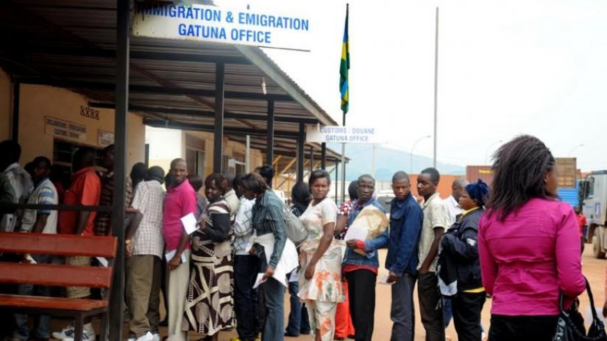Travellers clear their documents at Gatuna border that will soon get a one-stop border post facility. (File)