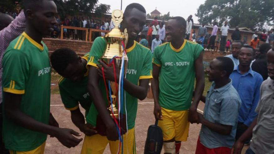 Debutants IPRC-South players celebrate with their supporters after winning this year's tournament.