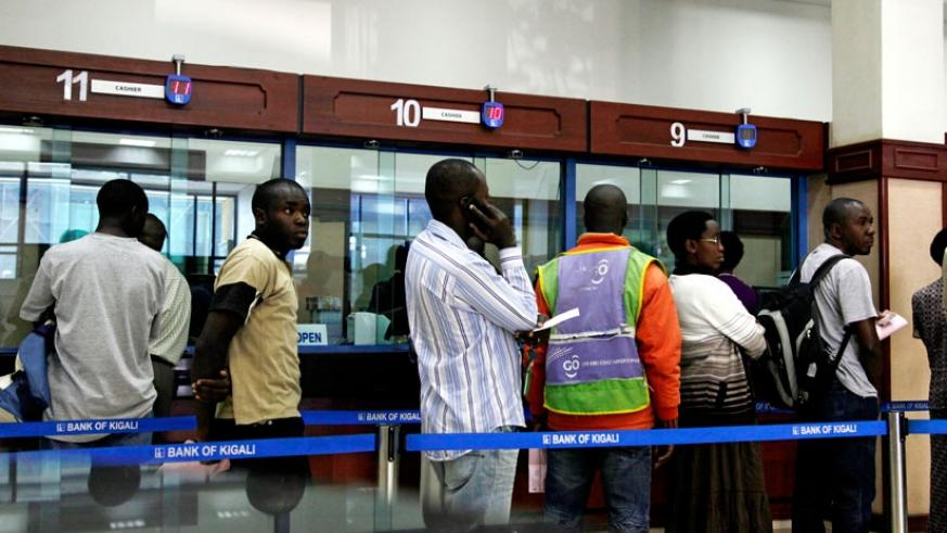Clients of Bank of Kigali queue to get served. (File)