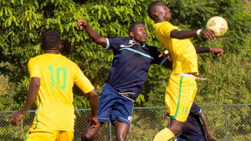Police defenders will have their hands full dealing with AS Kigali's inform striker Ernest Sugira (R) on Sunday afternoon. (File)