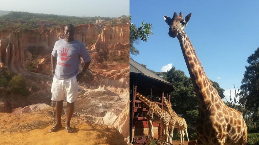 (L) Standing above Hell's Kitchen. (R) The majestic Rothschild giraffes and some warthogs. (Allan Brian Ssenyonga)