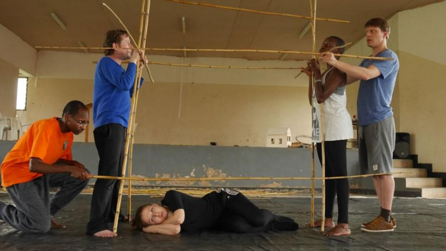 The German-Rwandan cast of the play, My House, during rehearsals in Kigali. (Moses Opobo)