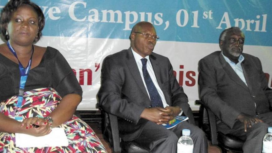 L-R: Panelists Dr Usta Kayitesi, the principal of UR CASS; Dr Augustin Iyamuremye, the chairperson of the Elders Advisory Council; and Senator Tito Rutaremara  at the launch of Pan....