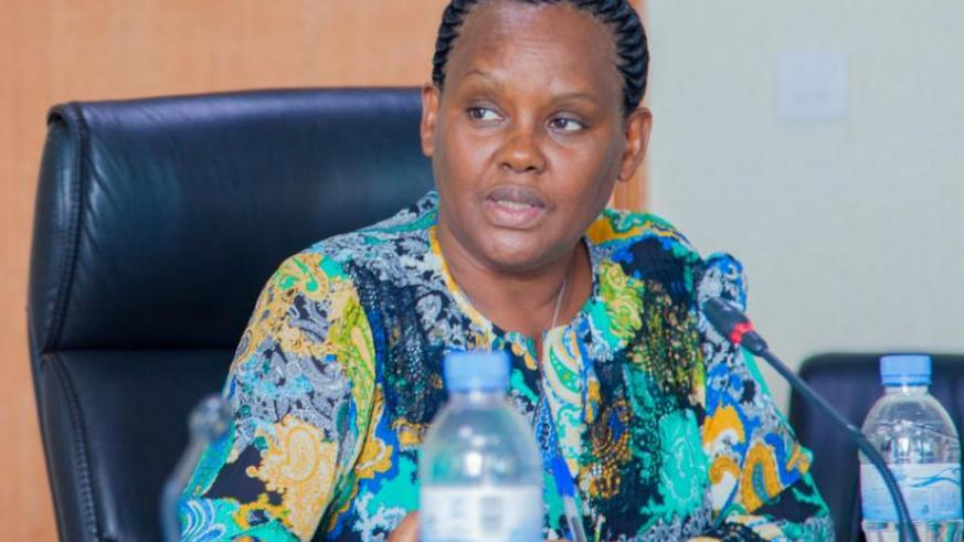 The executive secretary of the Public Service Commission, Angelina Muganza, addresses a news conference about the new recruitment system yesterday. (Faustin Niyigena)