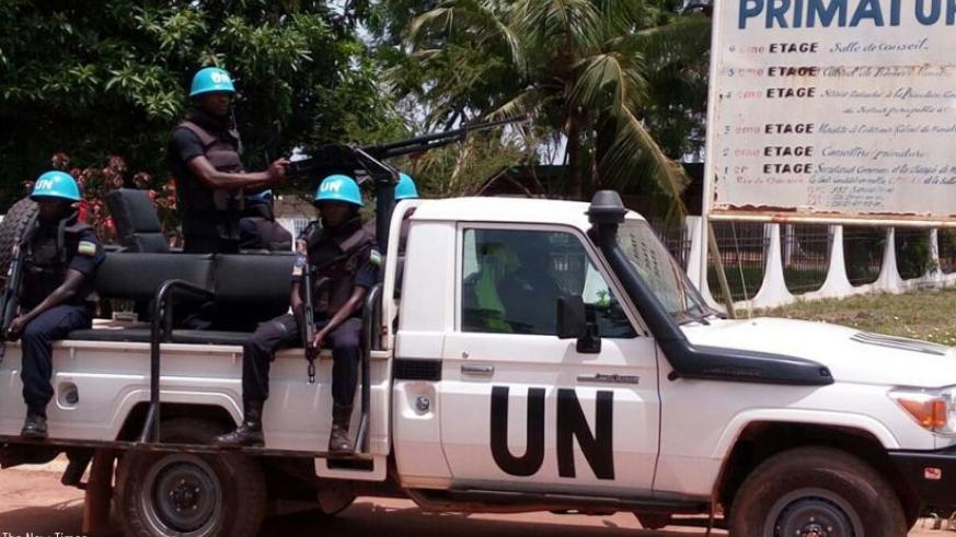 Rwandan police peacekeepers patrol around the office of the prime minister of CAR. (Courtesy)