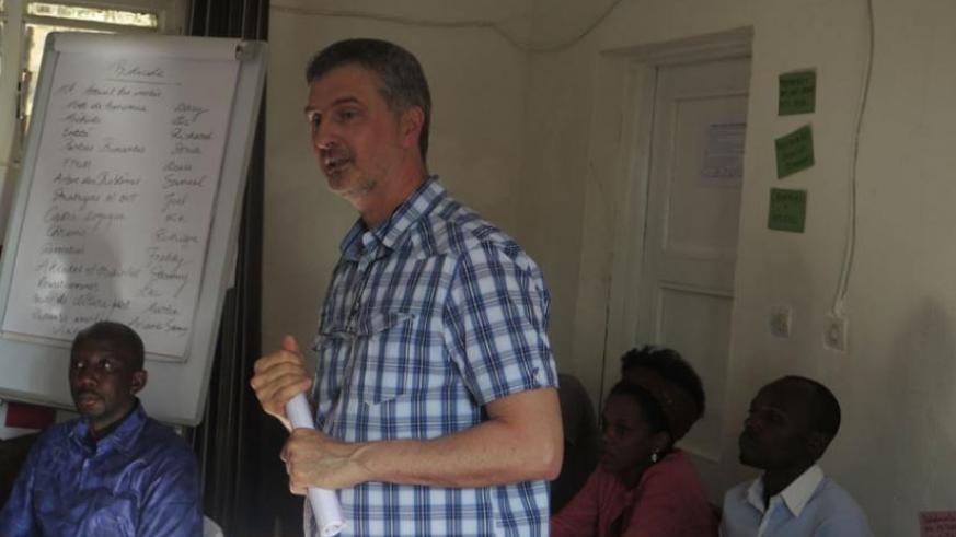 Ameye addresses trainees during the closing ceremony. (S. Kalimba)