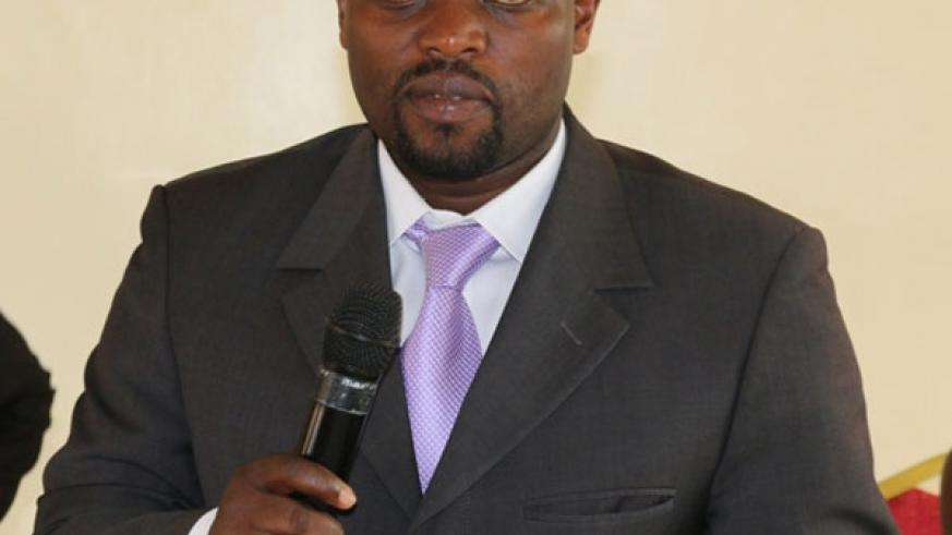 Minister Nsengimana speaks during the handover ceremony on Monday. (Frederic Byumvuhore)