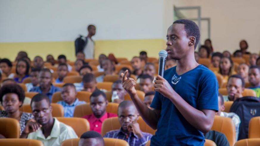 One of the students asks a question about the application process yesterday. (Faustin Niyigena)