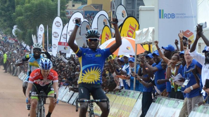 Bintunimana punches the air as he crosses the finish line to win stage two of the 2015 Tour du Rwanda. (File)