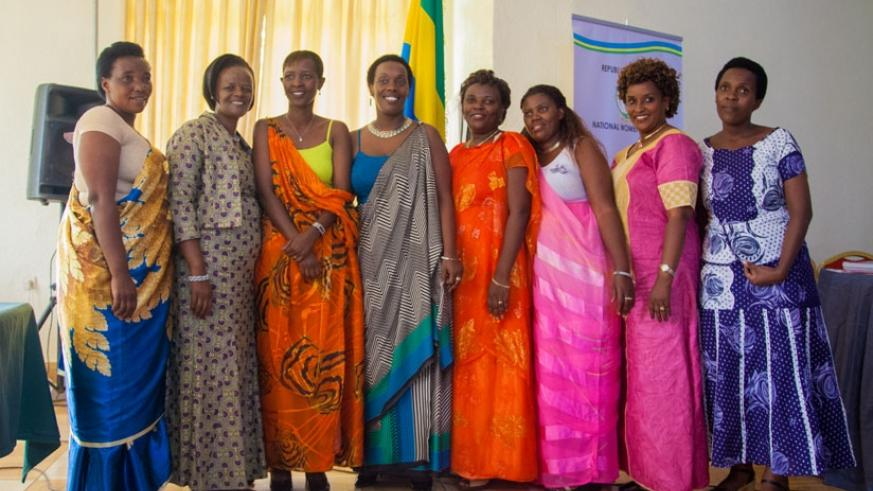Incoming executive committee for National Women Council in a picture with Minister Gashumba (fourth from left). (Faustin Niyigena)